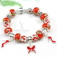 Браслет HOT SALE 925 Silver Chamilia Bead Red Butterfly Charm Bracelet for Women European Handmade Fashion Jewelery PA1313