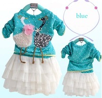 Платье для девочек hot selling! 3pcs/lot soft cotton Girls swan long sleeve Princess lace dress, t-shirt +tutu dress together
