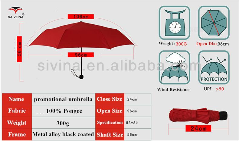 21 Inches 3 Folded Custom Standard Umbrella Size Market Umbrella ...