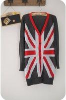 039 Fashion Women's Knitted Cardigans Woolen Sweater Vouge Great Britain UK Flag Pattern Stylish Knitwear Coat Jacket