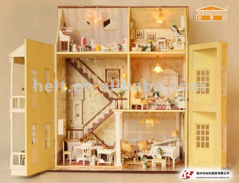 Fashion new wooden diy model miniature dollhouse, wooden educational toys, gift articles for kids
