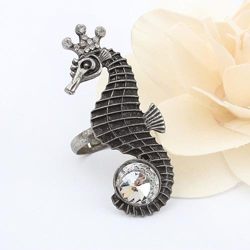 Free Shipping New Shelves Retro Alloy Crown Hippocampus Ring (Bronze)#90305