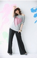 Free shipping  2012 New women's  cotton  gray t  shirt wholesale and retail #10952