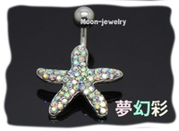 2012 New style Starfish with Crystal Navel Belly button rings Body jewelry/piercing