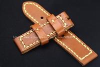 021 коричневый ручной работы кожаный ремешок телячья кожа коренастый браслета 24 мм для panerai часы браслет на лямках