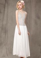 Женское платье 2013 America Angelababy Same Style Sleeveless Chiffon Embroidered White Dress Special Dress