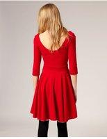 Женское платье new fashion women dress Season Black Red OL lady Dresses Tops medium sleeve sexy slim Ball Gown