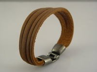 Wholesale Mens Stylish Genuine Leather Wristband Bracelets Multicolor Mix Order Free Shipping in stock
