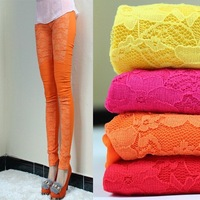 2012 new fashion spring/summer Europe/America chic Elastic Cotton+lace Carve flowers women  leggings/Capri pants/cropped jeans