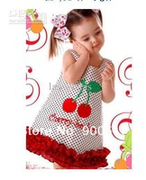 Платье для девочек NEW girls dresses children sleeveless cherry one-piece kids fashion suspender dress princess clothes ttzsz
