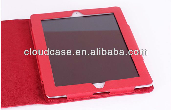 High quality folio with stand Leather case for new ipad 3