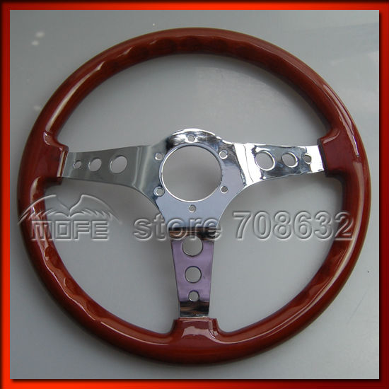 53mm Deep Corn Dish 350mm 14inch Steel Racing Sport Car Wood Steering Wheel DSC_0036
