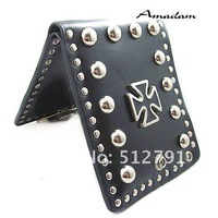 bq007/Free Shipping !Fashion mens' wallets,Punk black cross rivets Leather Wallet/Purse,100% genuine leather,High quality!