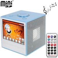 голубые 2 ГБ tft lcd мини цифровые mp5 звук box плеер с дистанционным управлением, поддержкой будильник/fm/sd/mmc карт, встроенный микрофон