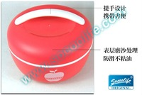 Free shipping double layer microwavable keep warm apple lunch box 1L,red& green #LF202