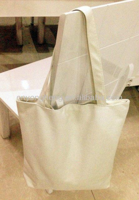 2014 Fashion 10oz white cotton canvas tote bag with phone pocket