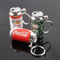 Зажигалка 10pcs/lot MINI Zip-top can Shape Electronic Flame Cigarette Lighter With Keychain Butance Gas Lovely Lighter Gift