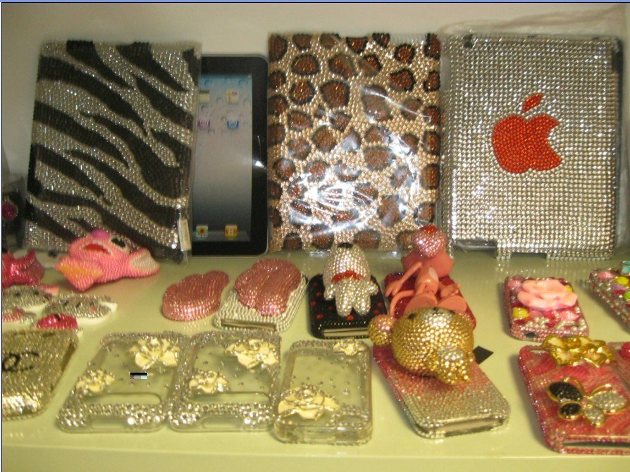 Free Shipping 1pcs/lot 100% handmade  crystal ipad 2 case&diamond ipad protect cover