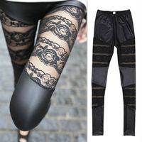 Женские носки и Колготки New! 2013 Women Lady Sexy Yarn Lace Splicing Imitation Leather Leggings Pants Black