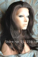 Free Shipping! 20 Inch 140% Density Hand Made Synthetic Lace Front Wig- Bodywave Dark Brown,High Quality!