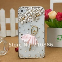 phone Case Cover for iphone4/4s,Rhinestone Crystal Diamond pearl,fashion flowerl ballet dance girl,5 colours,Free shipping