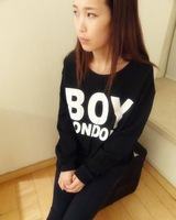 Free shipping boy london thickening long-sleeve pullover sweatshirt over size black