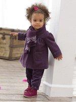 красивые детские девочка пальто/фиолетовый хлопка пальто с двумя карманы зимой держать теплый новый стиль