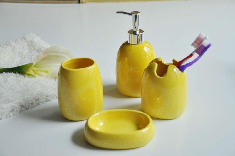 Accessoires de salle de bain jaune - Accessoire salle de bain jaune ...