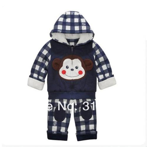 Скидки на Младенцы зима толще обезьяны заплатка закрытый воротник куртка + шотландка брюки два частей 3 комплект / много