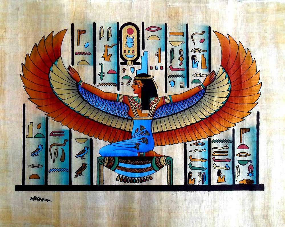 Egyptian papyrus paintings winged goddess isis buy for Mural egipcio