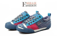 Женские кеды new 2013 Korean denim shoes low style canvas shoes men women smile lovers high quality fashion casual sneakers