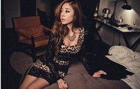 new  2012 Women's Fashion Leopard Print Lace Trim Party Mini Dress