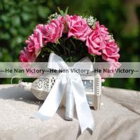 Потребительские товары Top quality 30 bouquets/lot Artificial Rose Flower Wedding Flower Bouquet Wedding Decoration