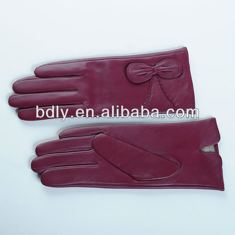 Ladies stylish bow design autumn winter leather gloves