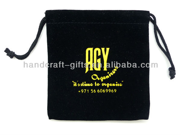 Custom High quality drawstring silk velvet gift bag