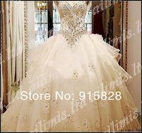 Free shopping !!!!!!white/Ivory Organza Empire Sweetheart Neckline Wedding Dress Free gloves veil
