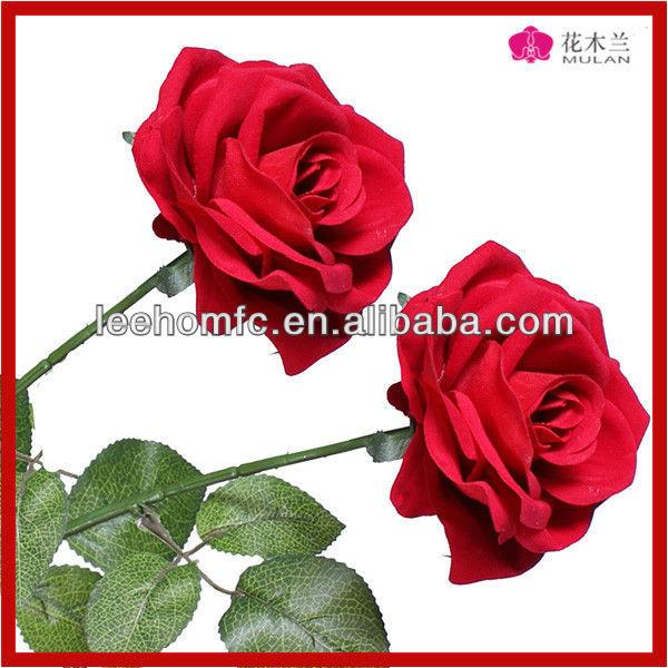 Haste longa De Veludo Rosa Flor Artificial De Seda Rosa Flor Vermelha