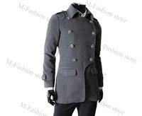 Мужские изделия из шерсти 2012 new Men's Coat Winter fashion Style Double-breasted coat Woolen Blends Camel coat Gray 3 size M, L, XL 3491