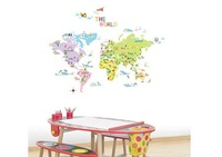 Free shipping Assembled size 67cm*105cm World Map WALL Decor STICKER Removable Adhesive Decal