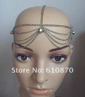 Ювелирное украшение для волос New hot Ship Grecian Europe Fashion Chain Headband Head Piece Hair Accessory Nice Turba Jewelry with Crystal