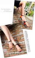 Женские сандалии sheepskin high heels color matching fish mouth sandals