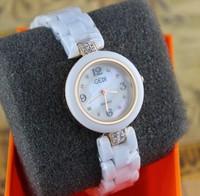 Наручные часы 1pcs Ceramic Watch White Strap Crystal hours Casual Watches Analog quartz watch Hot Sale