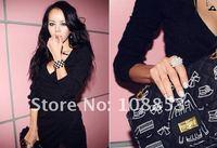 2012 New Cotton Women Lady's Long Sleeve Dress Fashion Deep V Neck Sexy Slim Mini Dress Night Club Sheath Dresses