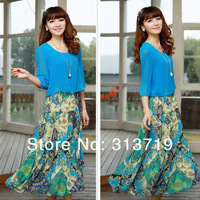 Женское платье Womens Floral Print Twinset Mid Sleeve Splicing Lady Chiffon Dress Casual dropshipping