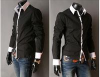 мужской тонкий роскоши стильные рубашки повседневные m l xl xxl серый/светло синий/розовый/черный & розничная ys906