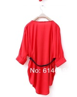New Arrivals women's solid color long blouse loose comfortable cotton shirt with belt lady summer dress