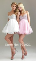 Коктейльное платье Charming A-line Sparkling Beaded Tull Mini Strapless Homecoming Dress