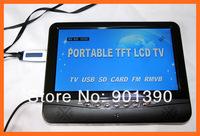 Портативный мини ТВ 9,5 дюймовый tft lcd цветной аналоговый телевизор с широким углом поддержка sd/mmc карты usb флэш-диск mp3 mp4 плеер