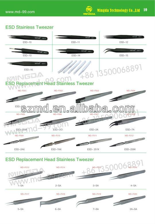 Original VETUS ESD-7A 130mm ESD Replacement Head Stainless Tweezers,Cleanroom Tweezers