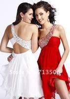 2012 Hot sale charming unique design one shoulder beads knee length  Graduation Dress cocktail dress